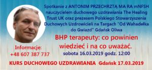 """W sobotę 16.03.2019 o godz. 12:00 odbędzie się spotkanie z Antonim Przechrztą na temat """"BHP terapeuty: co powinien wiedzieć i na co uważać."""" Targi """"Od Wahadełka do Gwiazd"""" Gdańsk Oliwa"""